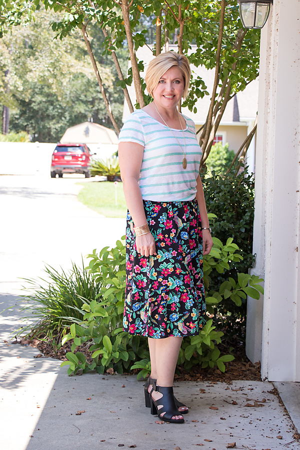 How to wear a floral midi skirt now and later