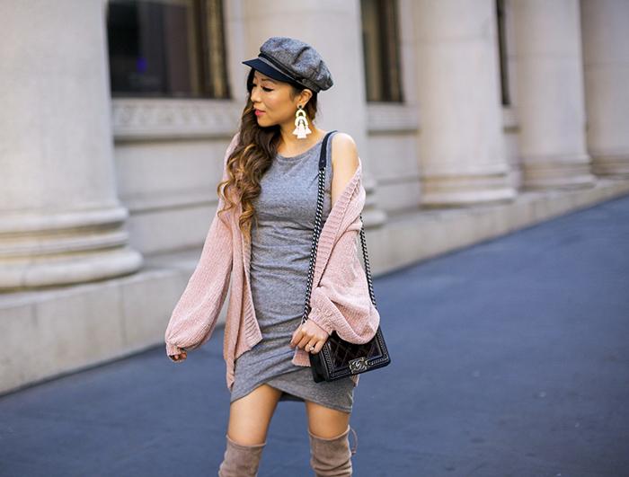 grey body conn dress, pink cardigan, brixton fiddler cap, chanel boy bag, stuart weitzman highland over the knee boots, san francisco style blog, san francisco street style, baublebar earrings