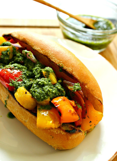 Grilled Vegetable Sandwich topped with Chimichurri Sauce