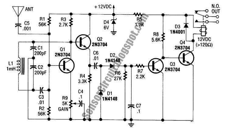 Sensor Schematic: Relay Output Proximity Sensor Circuit