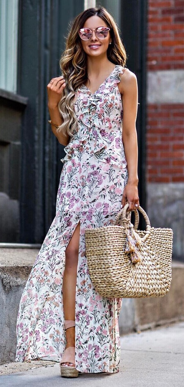 stylish summer outfit: maxi dress + bag