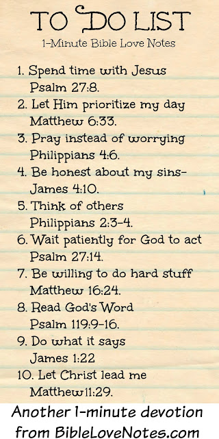 Things to do for Christ, a list of things Christians should do each day