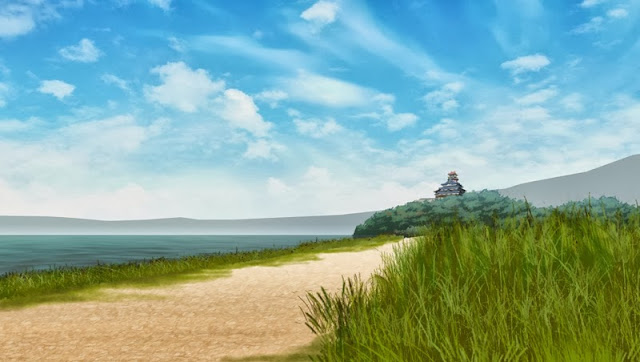 Temple outdoor anime landscape