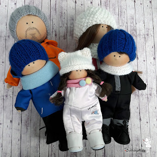 семья лыжников