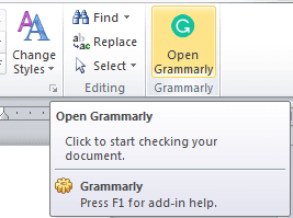 Open Grammarly plugin