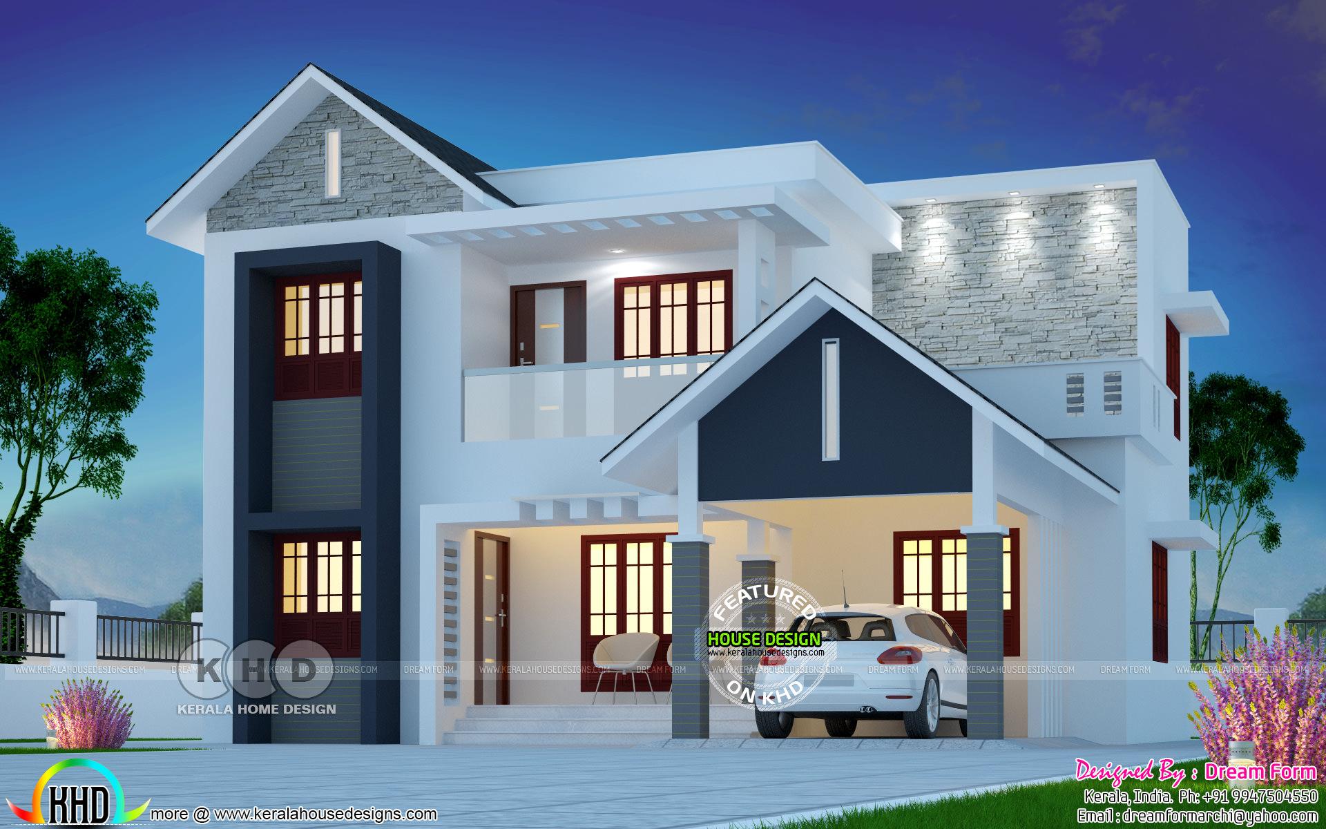 1790 Square Feet Beautiful Mixed Roof Modern Home Kerala Home