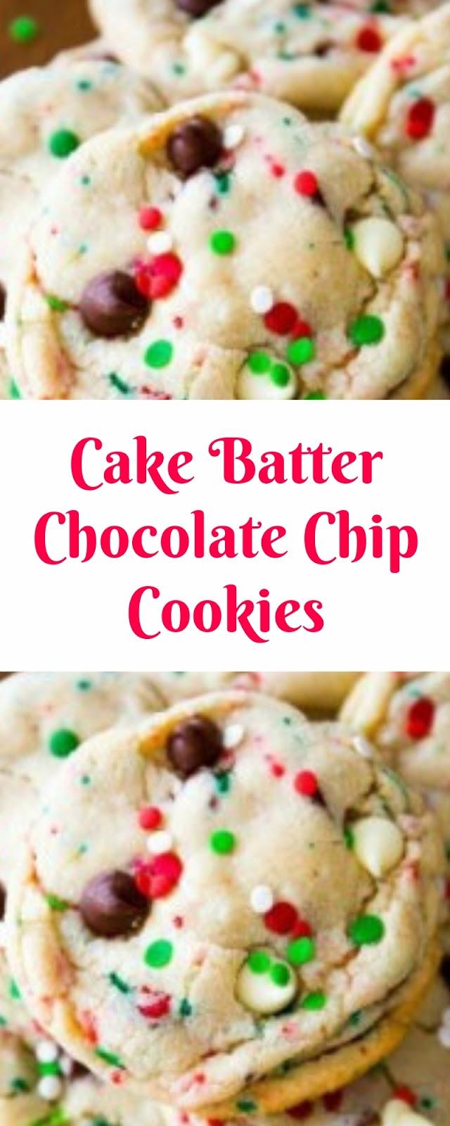Cake Batter Chocolate Chip Cookies Christmas Cookies