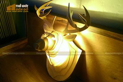 Thế Giới Đèn Gỗ - Đèn gỗ trang trí đầu hươu