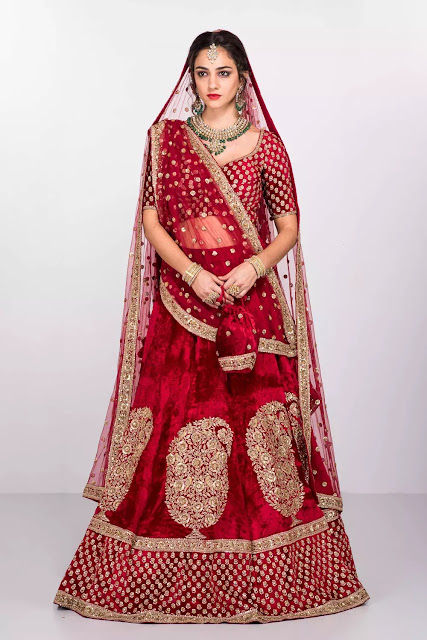 Red shade Traditional Bridal Lehenga
