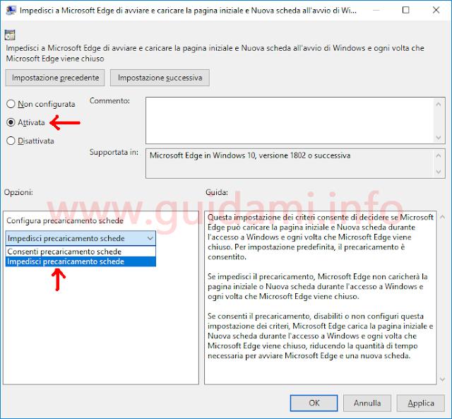 Editor Criteri di gruppo locali impostazione per disattivare precaricamento Microsoft Edge