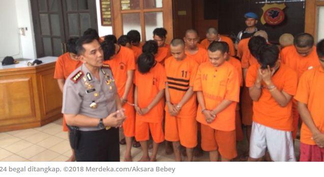 Polisi Bandung Tangkap 24 Begal, Mayoritas Remaja