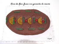 Coca de Sant Joan con ganache de menta