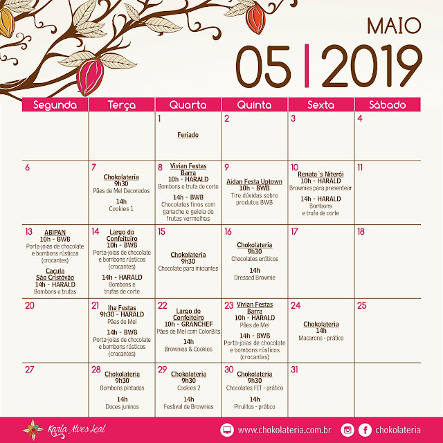 Agenda de Aulas - Maio 2019