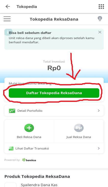 Mendaftar Tokopedia ReksaDana Melalui Smartphone.