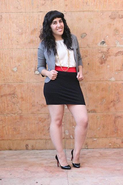 Pinstripe Schoolboy Blazer and Color Block Dress