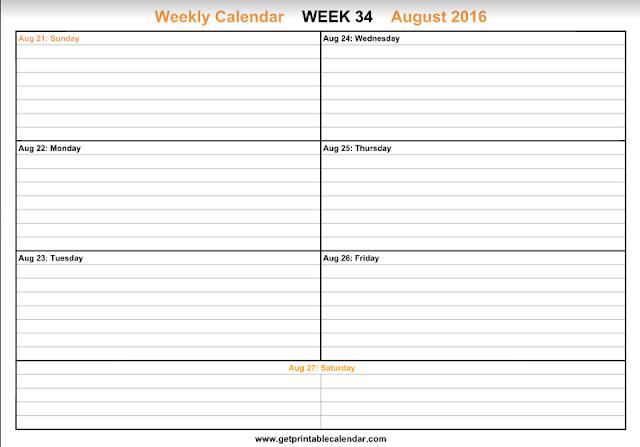 August 2016 Weekly Calendar, August 2016 Calendar Printable, August 2016 Calendar, August 2016 Calendar Template. August 2016 Printable Calendar, August Calendar