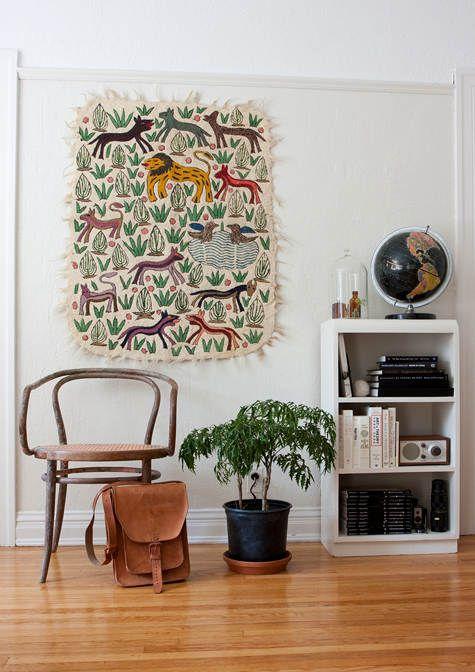 textiles en la pared