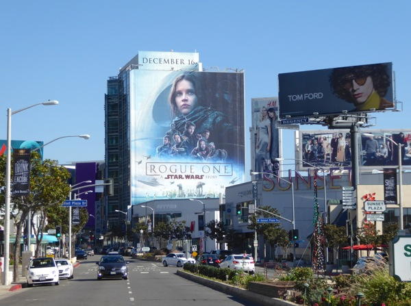 Giant Rogue One movie billboard Sunset Strip
