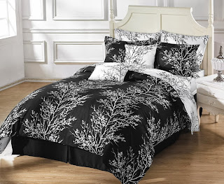 Chezmoi Collection 8-Piece Soft Microfiber Reversible Black White Tree Branches Duvet Cover with Sheet Set, Queen