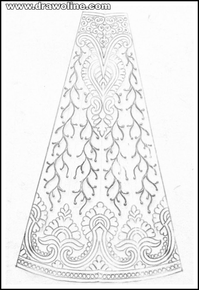 Lehenga design sketch on paper/lehenga design images/latest pattern of hand embroidery lehenga design 2019