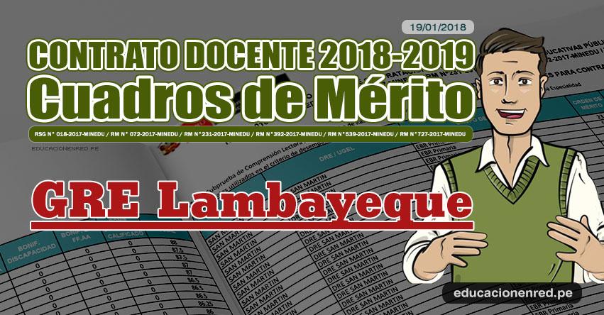 GRE Lambayeque: Cuadros de Mérito Contrato Docente 2018 - 2019 (.PDF) www.educacion.regionlambayeque.gob.pe