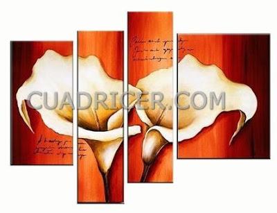 http://www.cuadricer.com/cuadros-pintados-a-mano-por-temas/cuadros-flores/flores-calas-naranjas-cuadros-modernos-espana-2241-salones-comedores.html