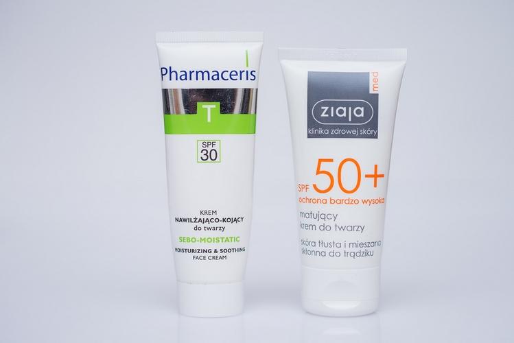 Pharmaceris Sebo-Moistatic SPF 30 | Pharmaceris krem z filtrem skóra trądzikowa | krem z filtrem po kwasach | Ziaja SPF 50+ matujący krem do twarzy skóra tłusta i mieszana skłonna do trądziku | pielęgnacja skóry po peelingach chemicznych | zabiegi kwasami blog | blogerka radzi