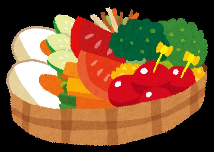 女性に好まれそうな、野菜が盛りだくさんのサラダ弁当のイラストです。