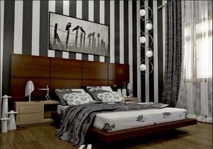 Moderne-schlafzimmer-wandgestaltung-streifen-schwarz-weiß-im-Kleine-Raum