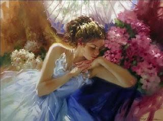 pinturas-con-mujeres-y-flores-armonía-de-colores lienzos-chicas-flores-arte
