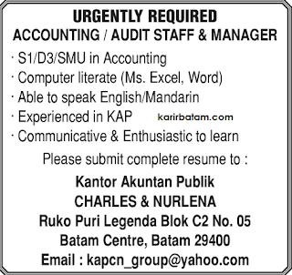 Lowongan Kerja Accounting/Audit Staff
