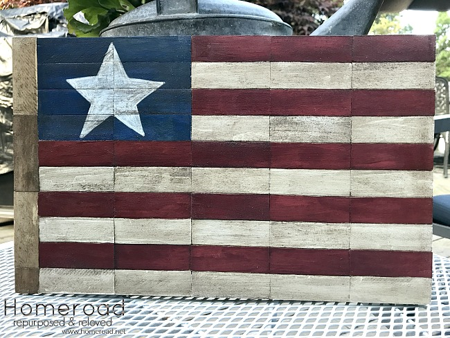 Wooden Block American Flag