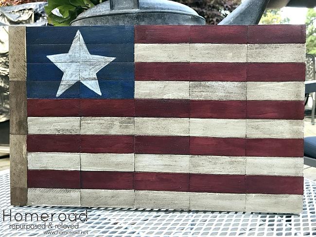 Wooden Block American Flag