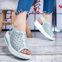Sandale dama Piele albastru deschis