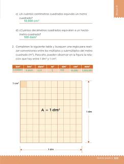 Respuestas Apoyo Primaria Desafíos Matemáticos 5to Grado Bloque III Lección 53 Unidades de superficie