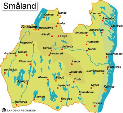 Karta Sverige Vimmerby.Karta Over Smaland Regionen Karta Over Sverige Geografisk Fysisk