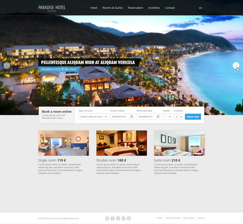 Free PSD Hotel Web Template