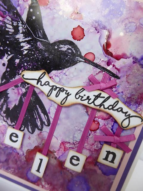 happy birthday stamp - hummingbird