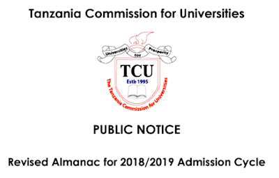 Revised Almanac for 2018/2019 Admission Cycle