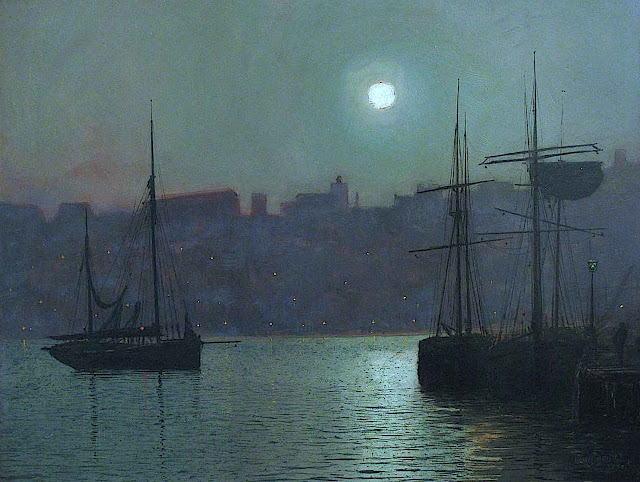 an 1800s teal painting by John A. Grimshaw of a calm harbour at night