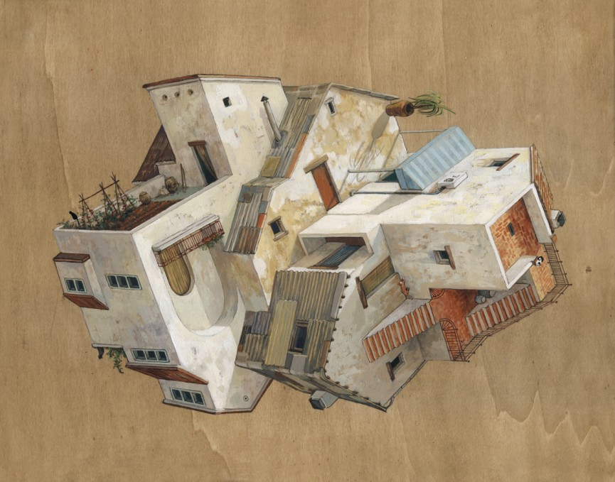 06-Casestortes-Cinta Vidal Agulló-Multi-directional-Surreal-Architecture-Drawings-and-Paintings-www-designstack-co
