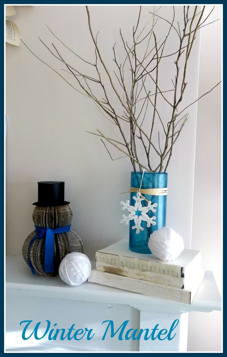 Vintage, Paint and more... book page crafts, diy decor from Dollar Tree glass ware, diy cone trees and thrifted items make a beautiful winter mantel