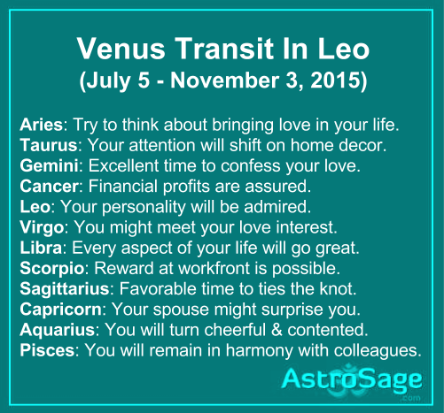 Venus transit in Leo will affect your zodiac sign.