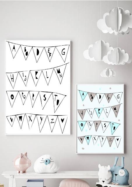 plakat z alfabetem w formie girlandy do pobrania