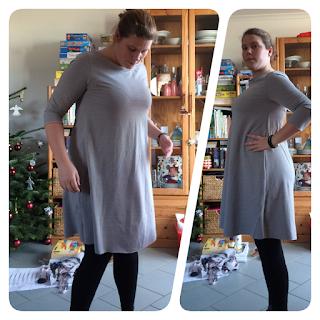 Delicia Erbsünde nili näht grauer Jersey Jerseykleid