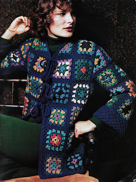 The Vintage Pattern Files: 1970s Free Crochet Pattern - Granny Square Jacket