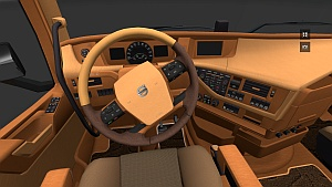 Carmina Wood and Leather interior for Volvo 2012 mod by Comos Trucker