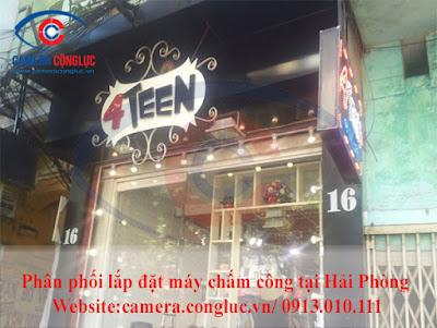 Lắp đặt máy chấm công tại cửa hàng 4Teen - 16 Mê Linh - Hải Phòng.