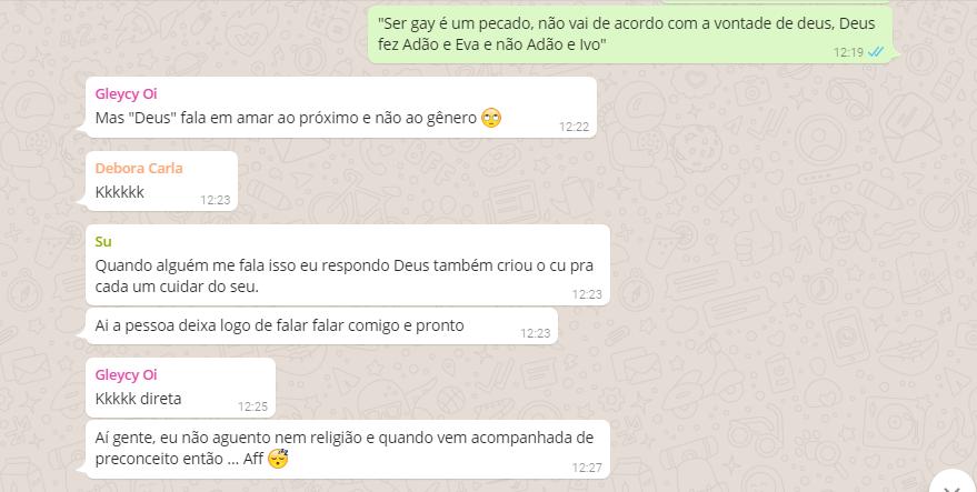 Frases típicas de homofóbicos que se dizem amigos dos gays no Debate no WhatsApp