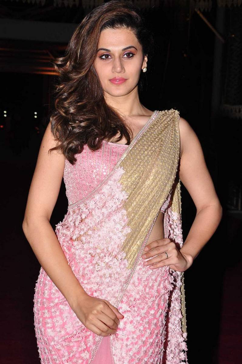 Taapsee Stills In Rose Color Saree At PVP Function
